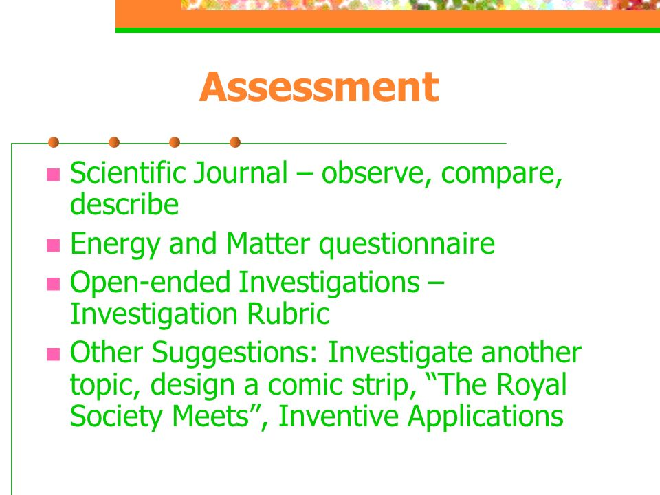 Assessment Scientific Journal – observe, compare, describe