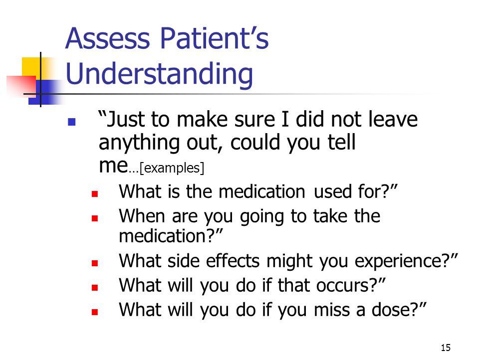 Assess Patient's Understanding