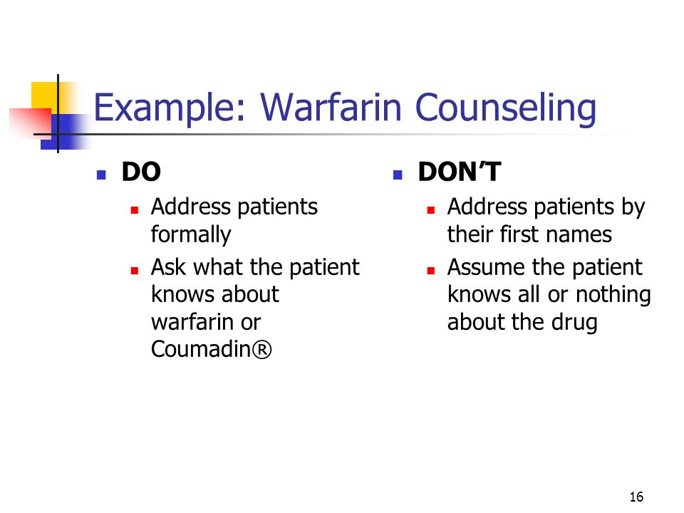 Example: Warfarin Counseling