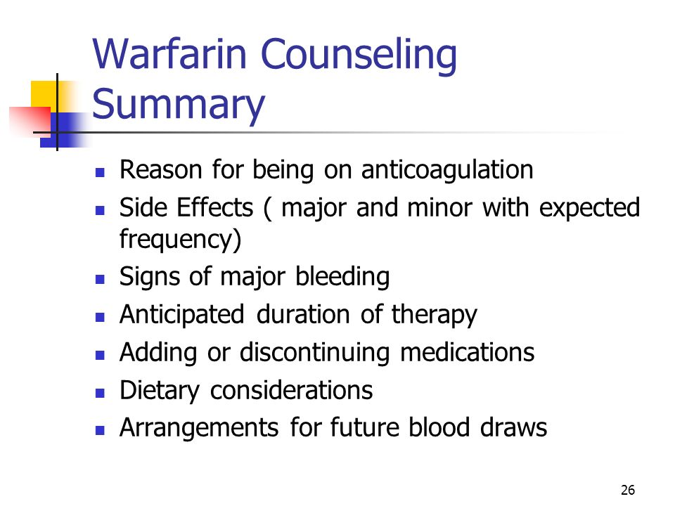 Warfarin Counseling Summary