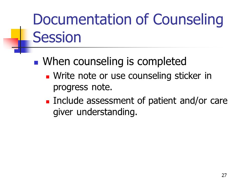 Documentation of Counseling Session