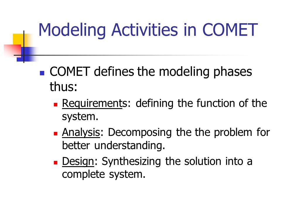 Modeling Activities in COMET