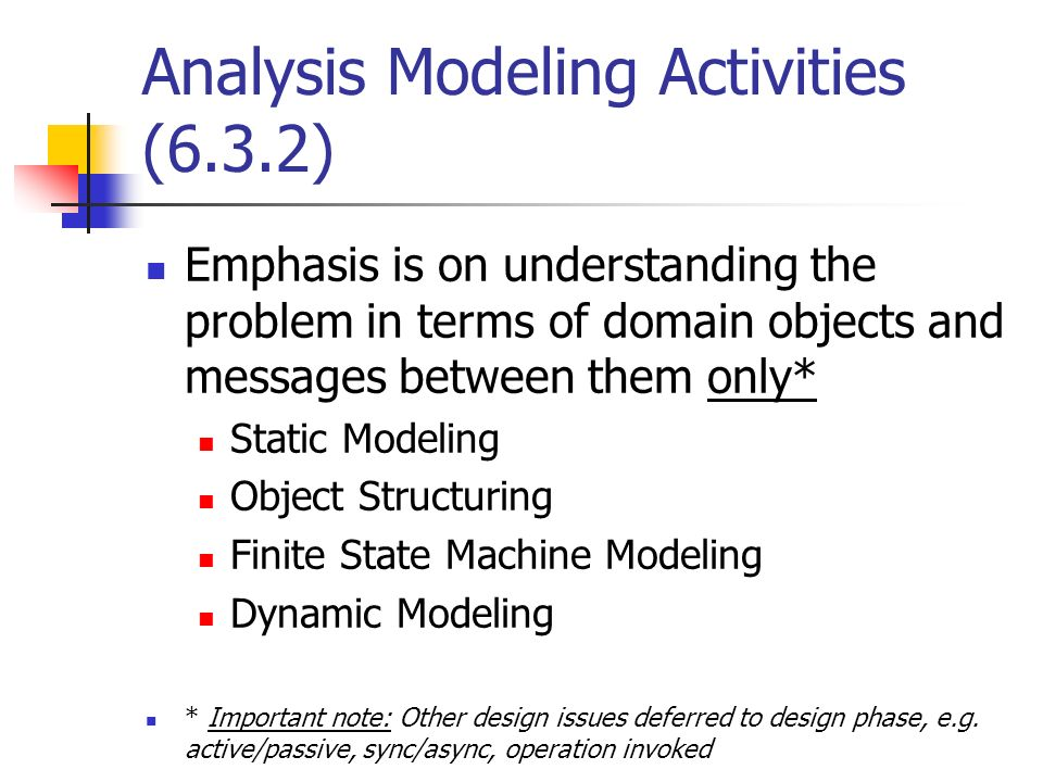 Analysis Modeling Activities (6.3.2)