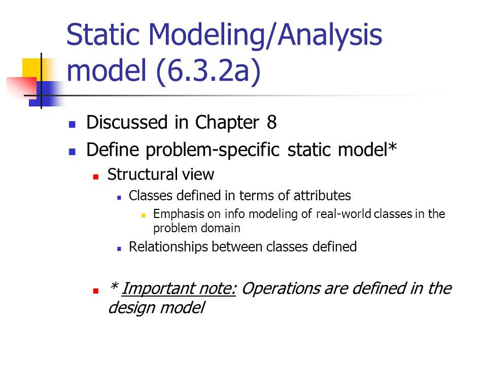 Static Modeling/Analysis model (6.3.2a)