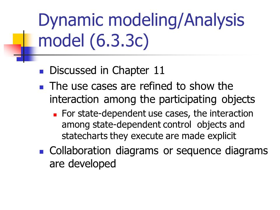 Dynamic modeling/Analysis model (6.3.3c)