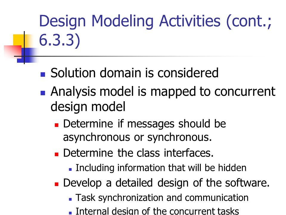 Design Modeling Activities (cont.; 6.3.3)