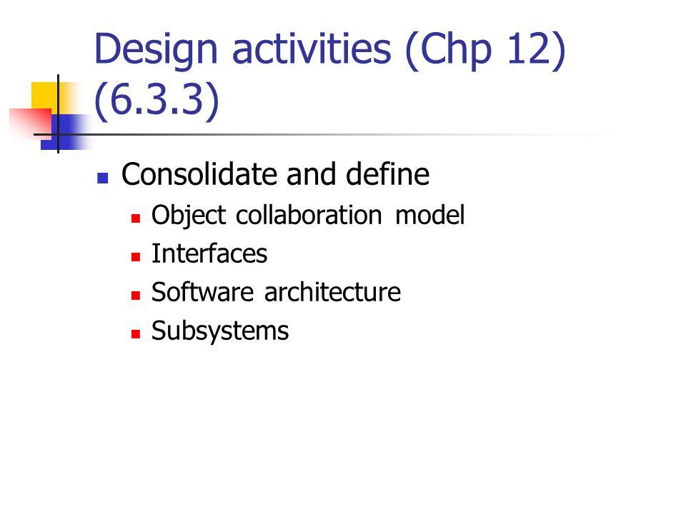 Design activities (Chp 12) (6.3.3)
