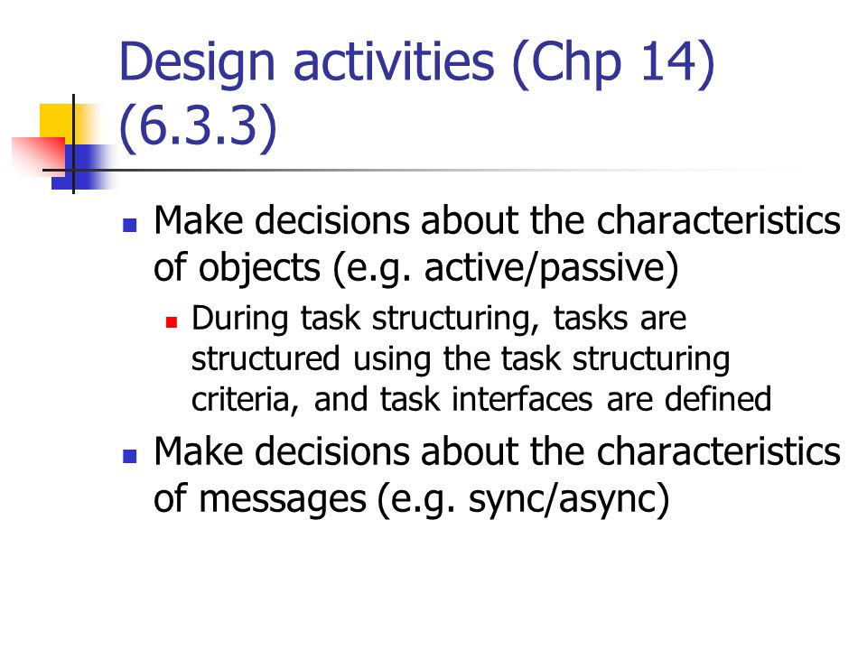 Design activities (Chp 14) (6.3.3)