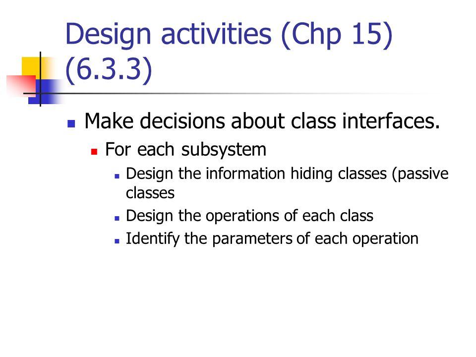 Design activities (Chp 15) (6.3.3)
