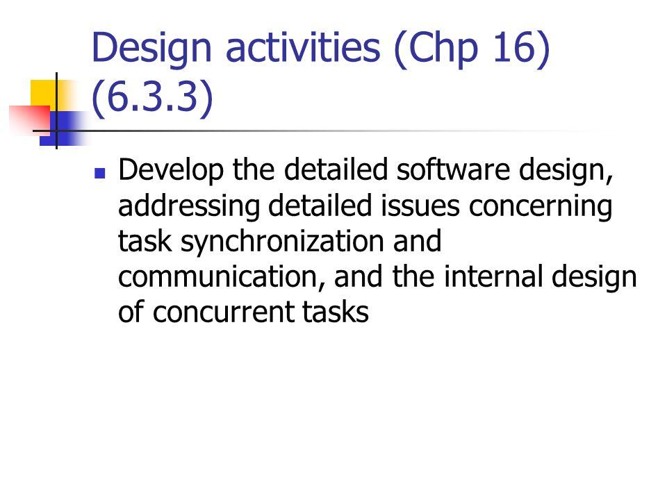 Design activities (Chp 16) (6.3.3)