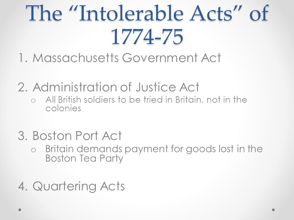 The Intolerable Acts of 1774-75