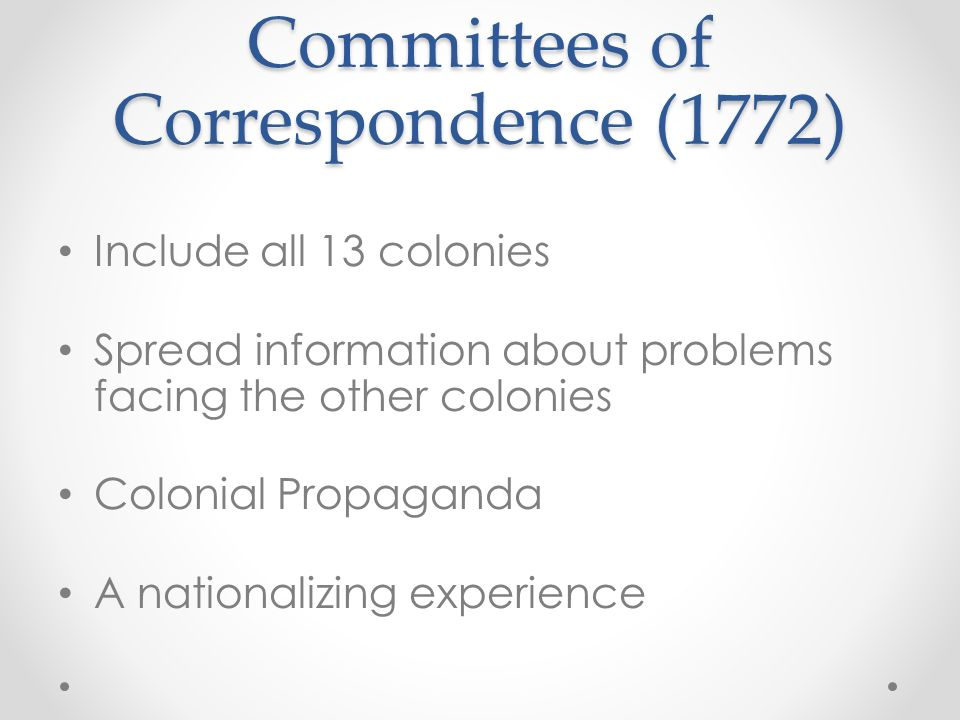 Committees of Correspondence (1772)