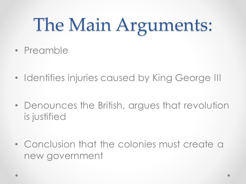 The Main Arguments: Preamble