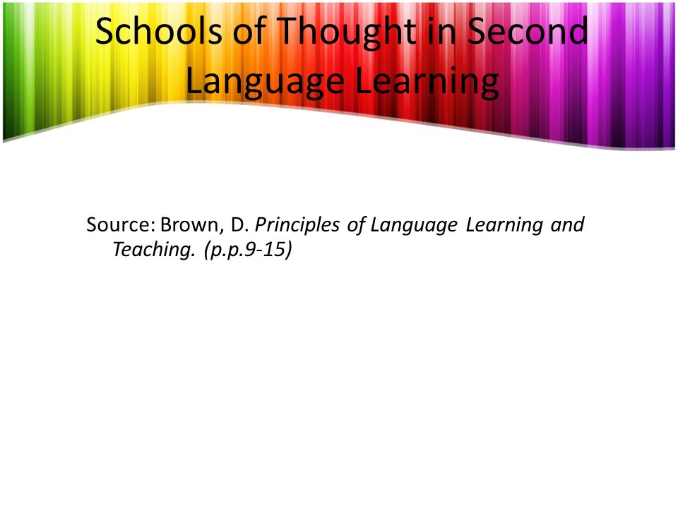 Schools of Thought in Second Language Learning