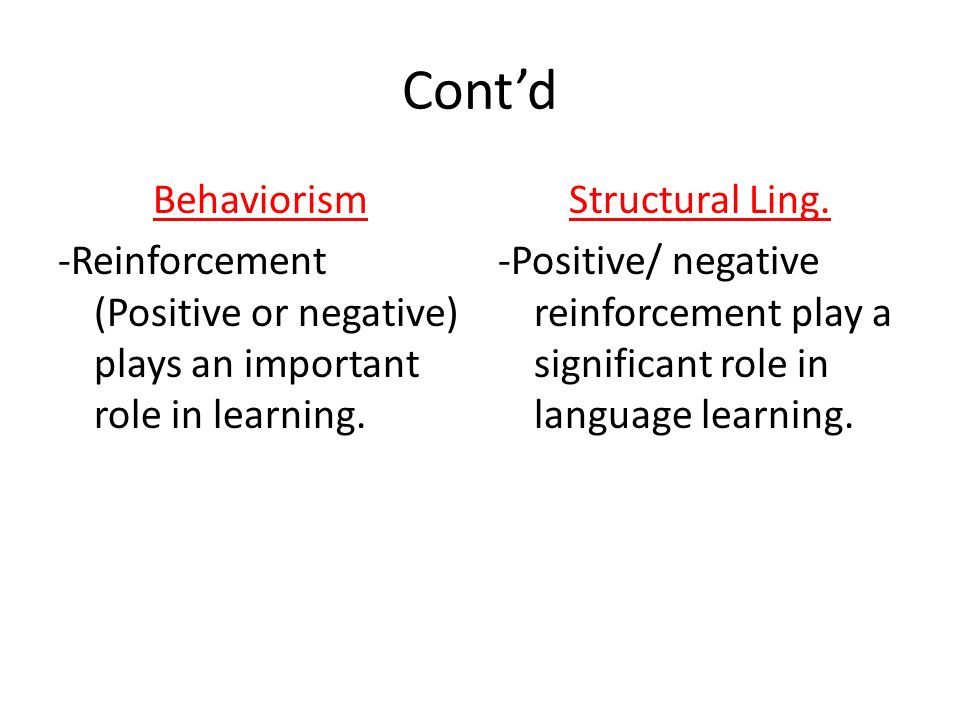 Cont'd Behaviorism. -Reinforcement (Positive or negative) plays an important role in learning. Structural Ling.