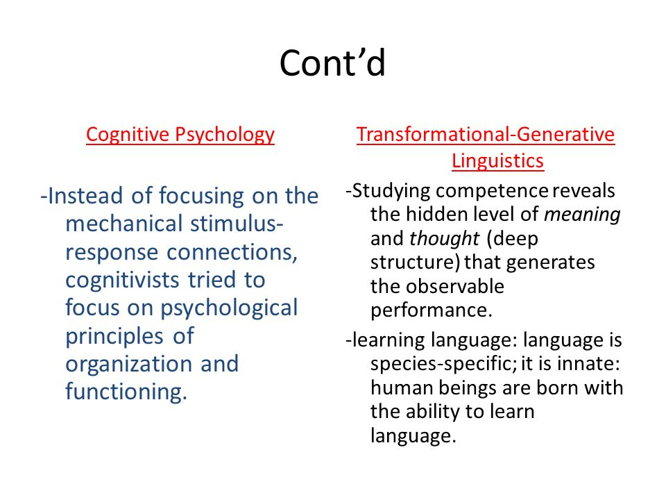 Cont'd Cognitive Psychology.