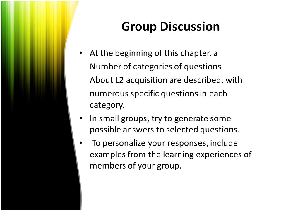 Group Discussion At the beginning of this chapter, a