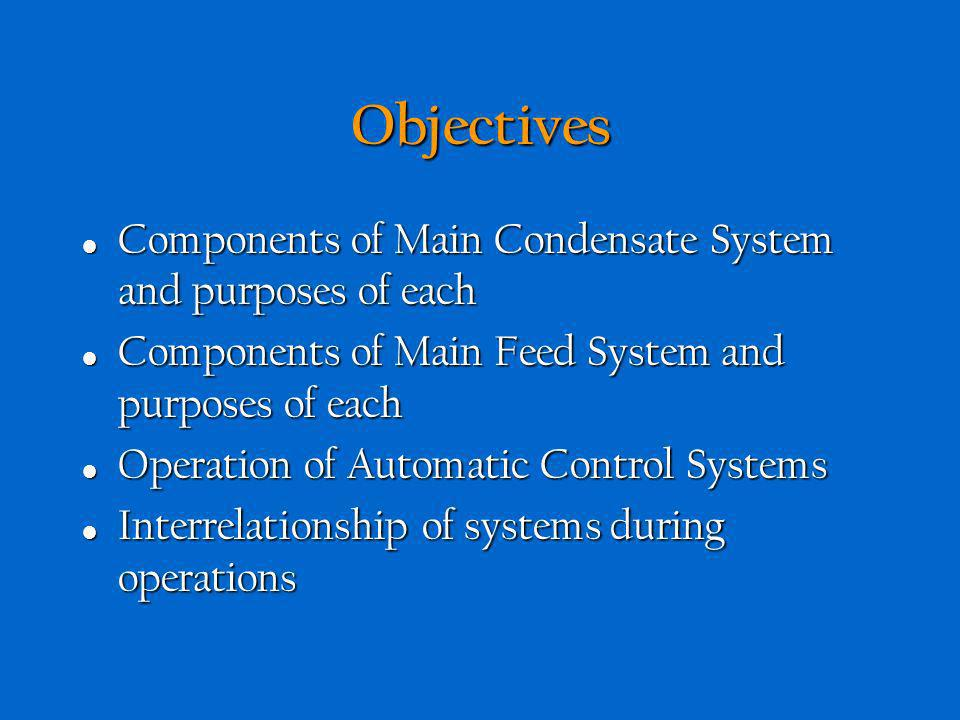 Objectives Components of Main Condensate System and purposes of each