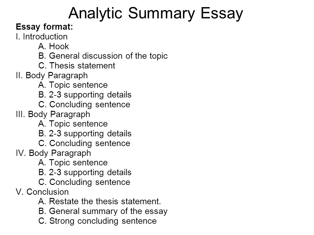 summarize essays How to summarize a research article research articles use a standard format to clearly communicate information about an experiment a research article usually has.