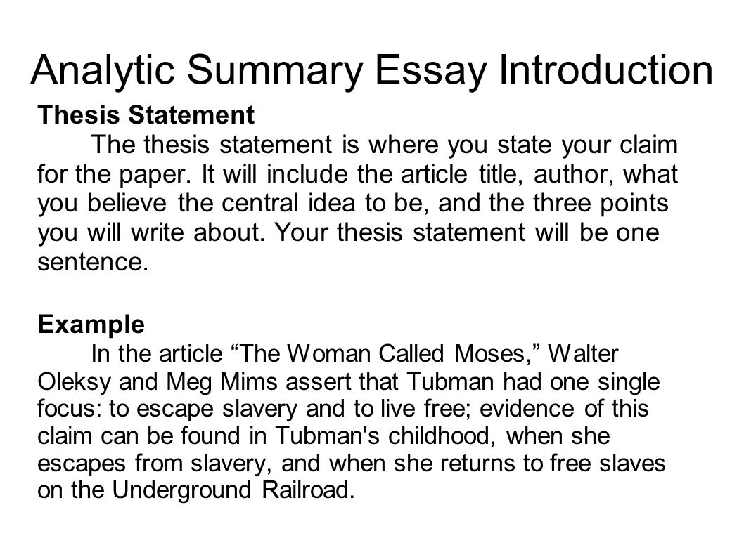 introduction to thesis essay