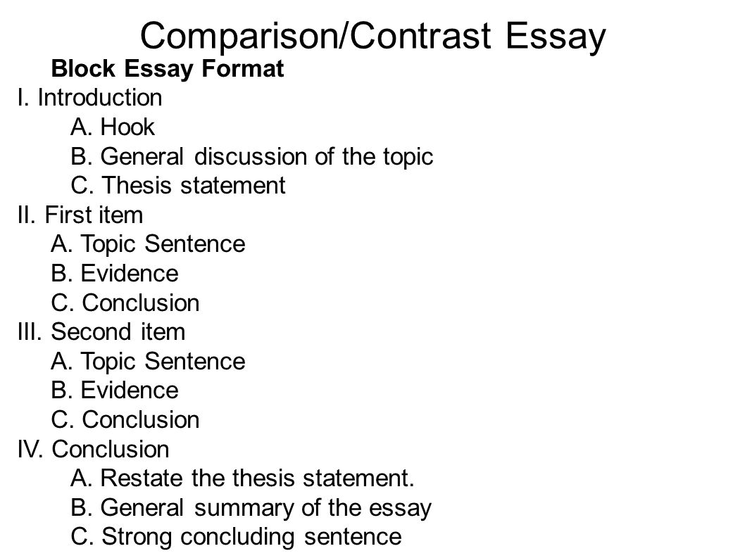 introduction in comparison and contrast essay A thesis sentence is a sentence in the introduction that tells the reader what the  topic or  i comparison/contrast thesis sentences the differences.