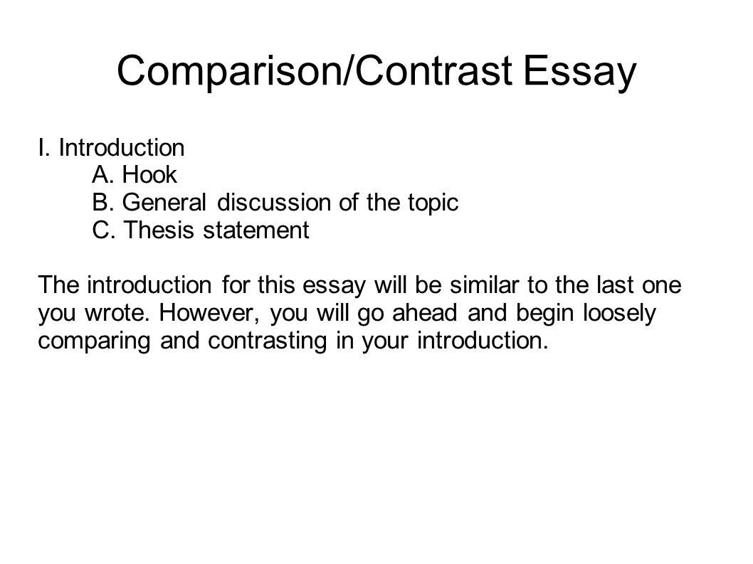 comparison essay sample Compare and contrast essays by anne garrett page 2 • comparison discusses similarities (common properties) example your assignment is to compare a book to a movie based on that book to merely list the plot similarities and the divergences from the plot could be done by anyone put in your own.