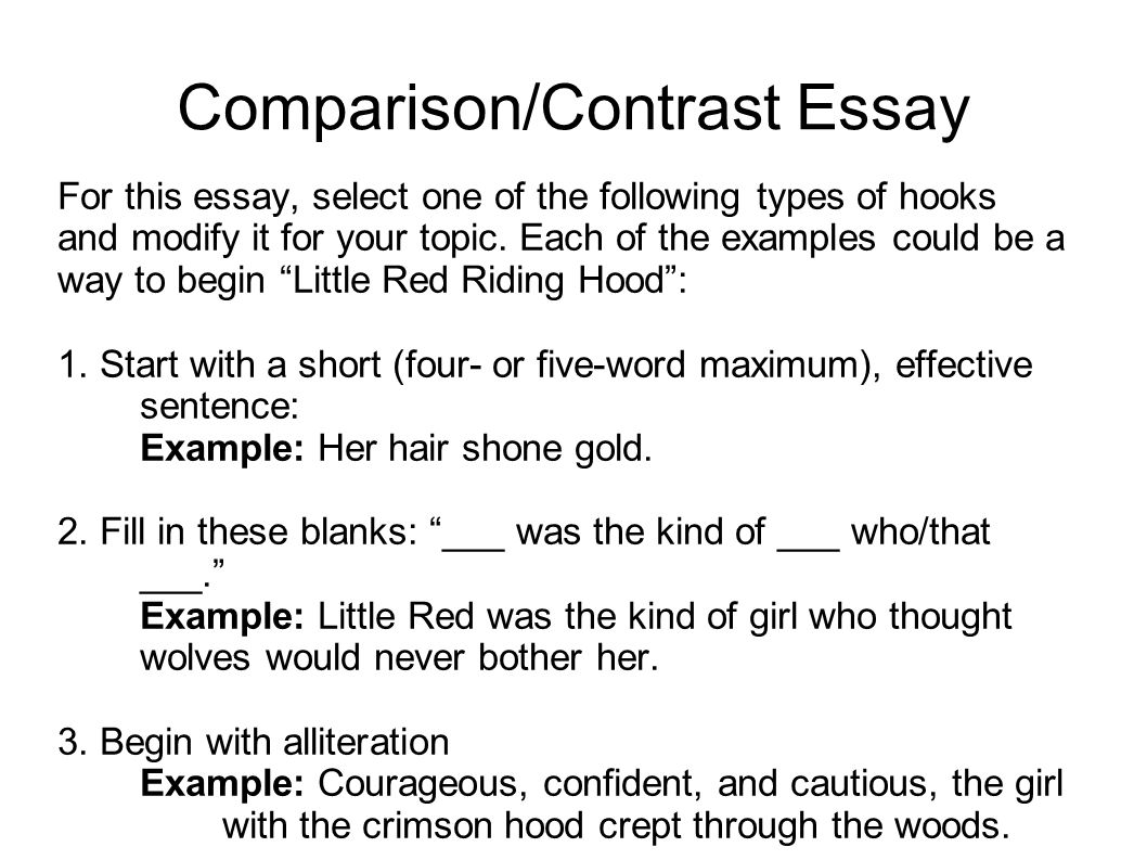 compare contrast essay introduction sentence Compare and contrast essay writing a compare and contrast  and end of an essay respectively an introduction is an overview  point in a sentence or.