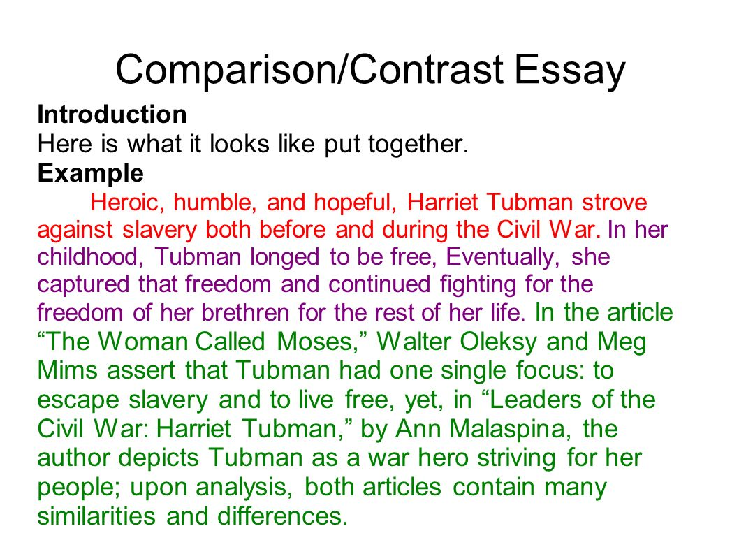 contrast and comparison essay examples Examples of introductions and thesis statements for comparison/contrast essay you may use the structure of any of the thesis statements, but you must write your.