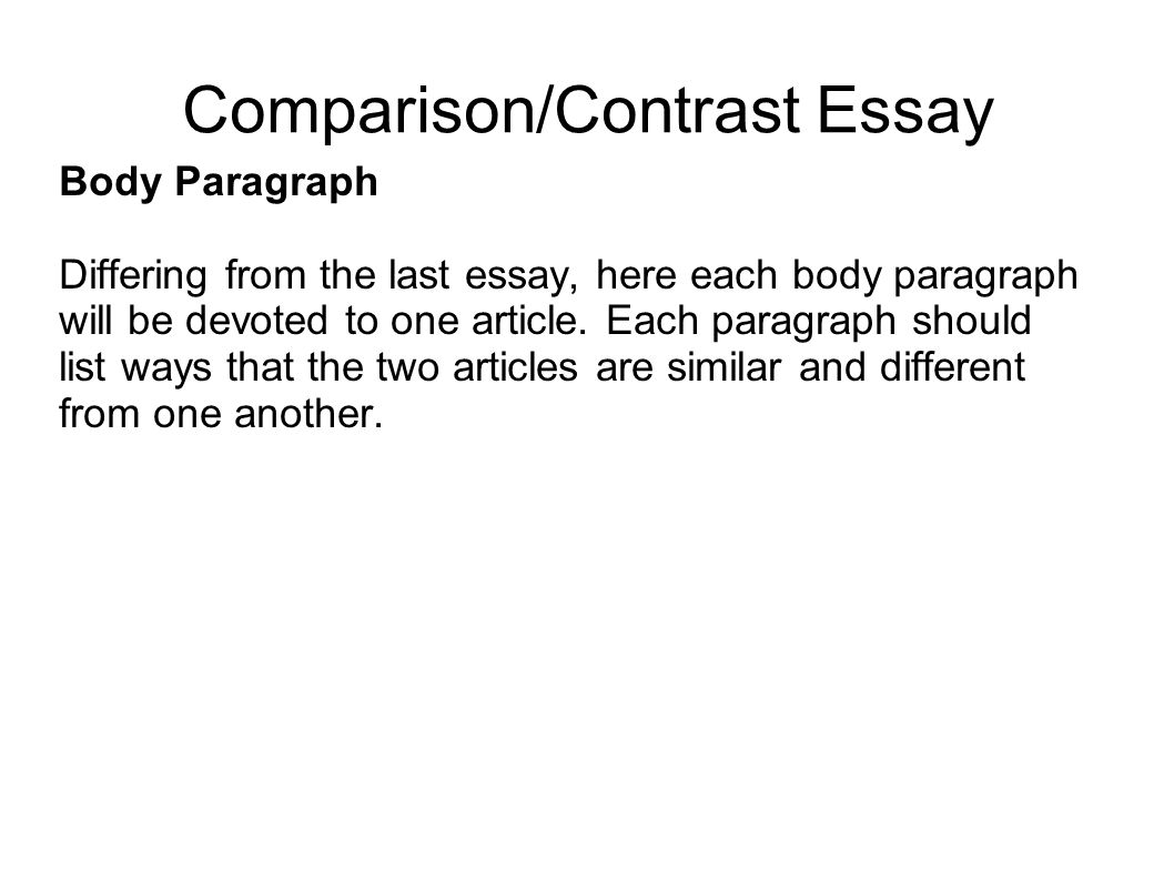 write introduction paragraph comparison essay Comparison/contrast essay organization like other types of essays, a comparison and contrast essay must have a  clear introduction and conclusion.