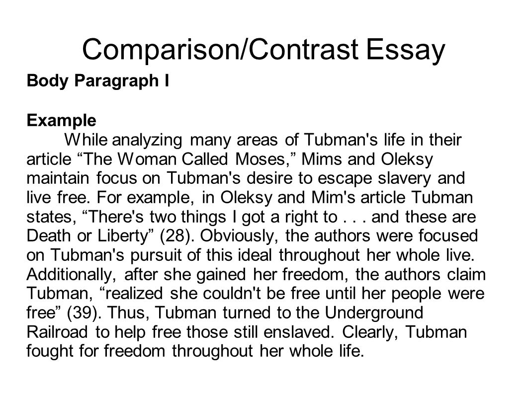 Compare and contrast essay help