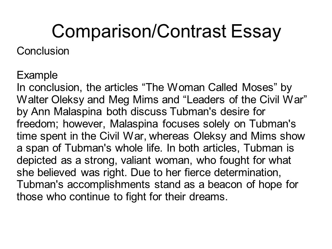 Elements of a compare contrast essay