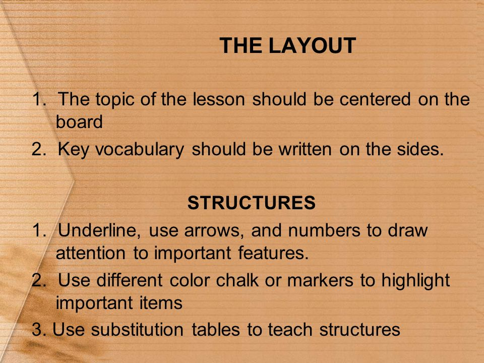 THE LAYOUT 1. The topic of the lesson should be centered on the board