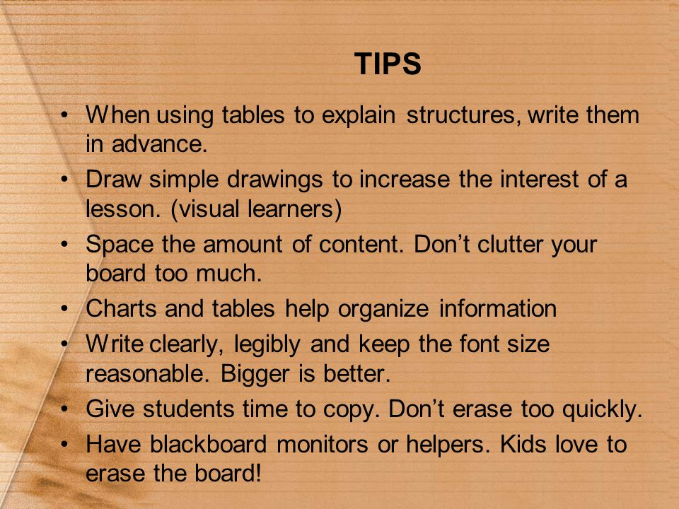 TIPS When using tables to explain structures, write them in advance.