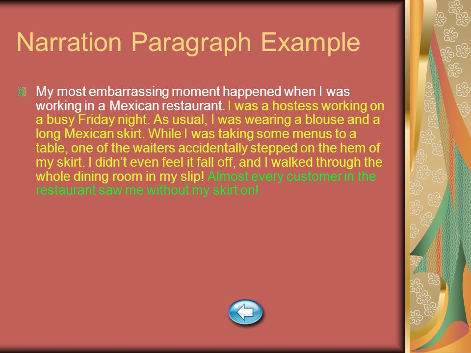Narration Paragraph Example