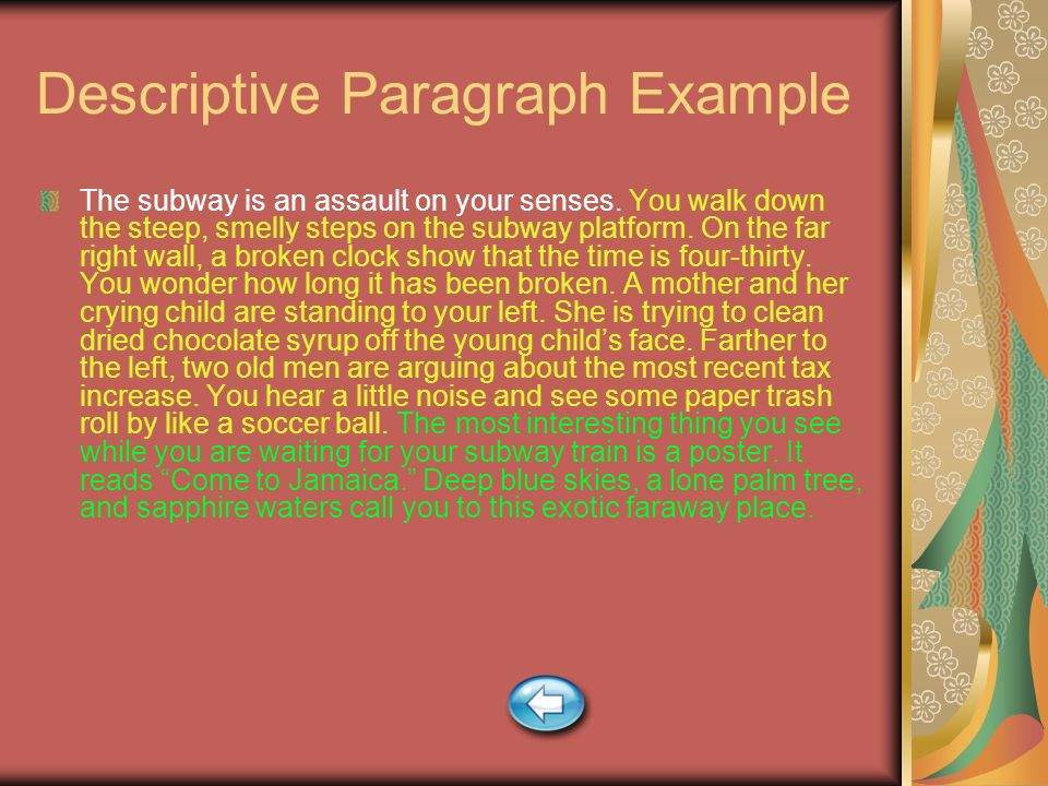 Descriptive Paragraph Example