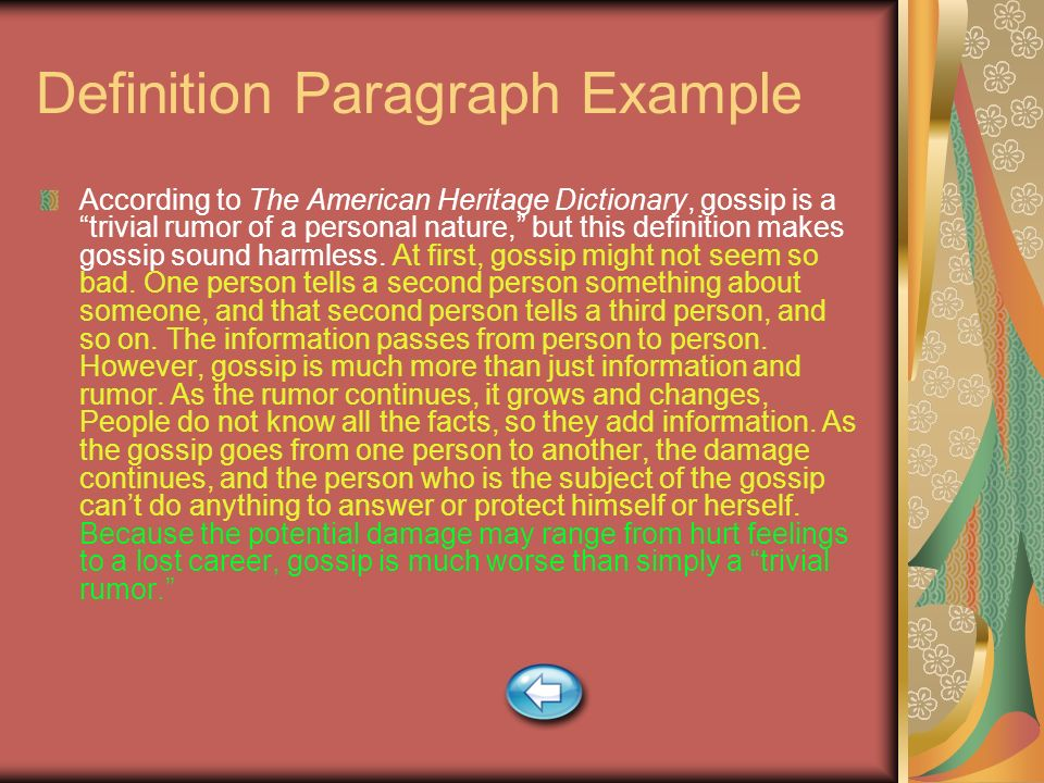 Definition Paragraph Example