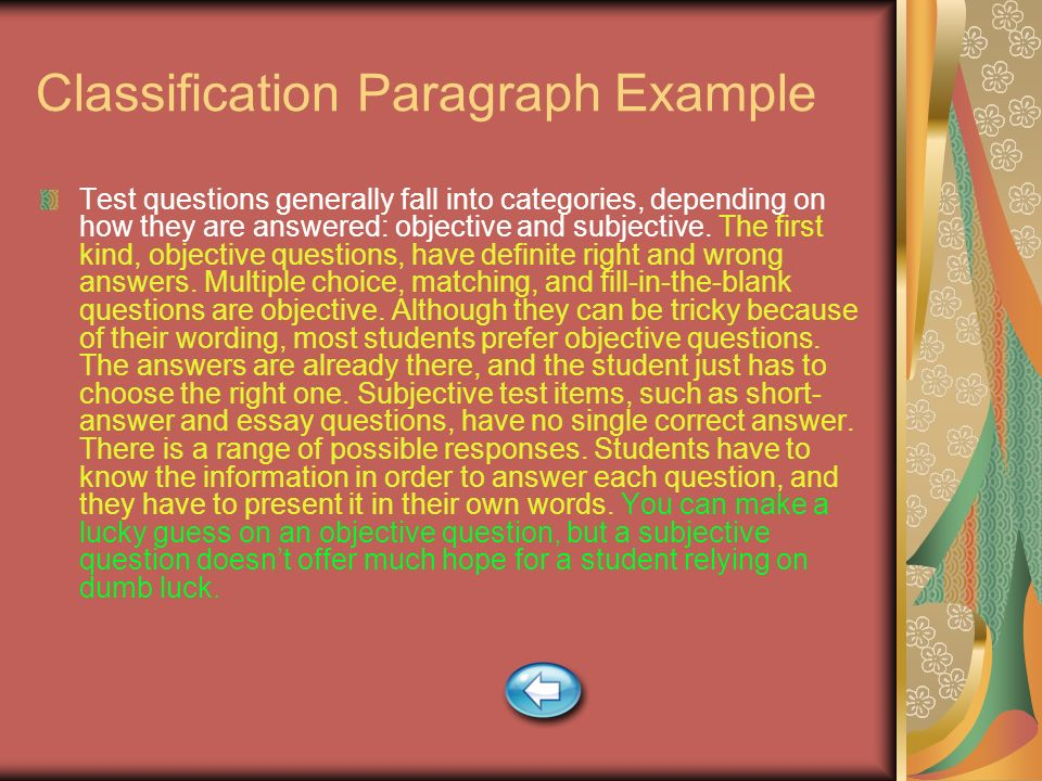 Classification Paragraph Example
