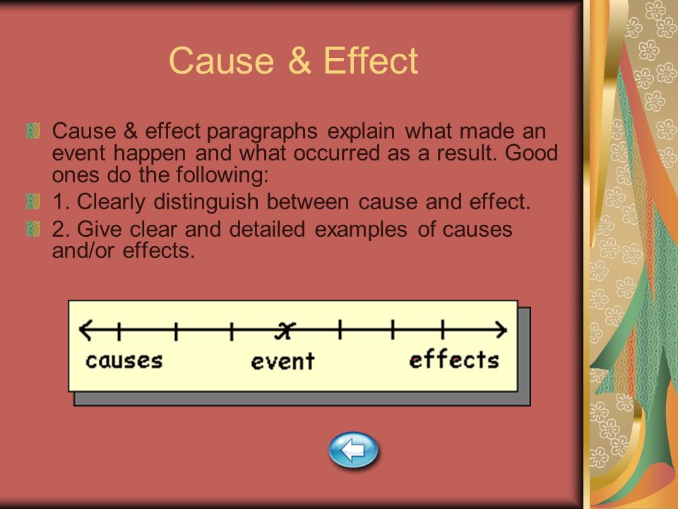 Cause & Effect Cause & effect paragraphs explain what made an event happen and what occurred as a result. Good ones do the following: