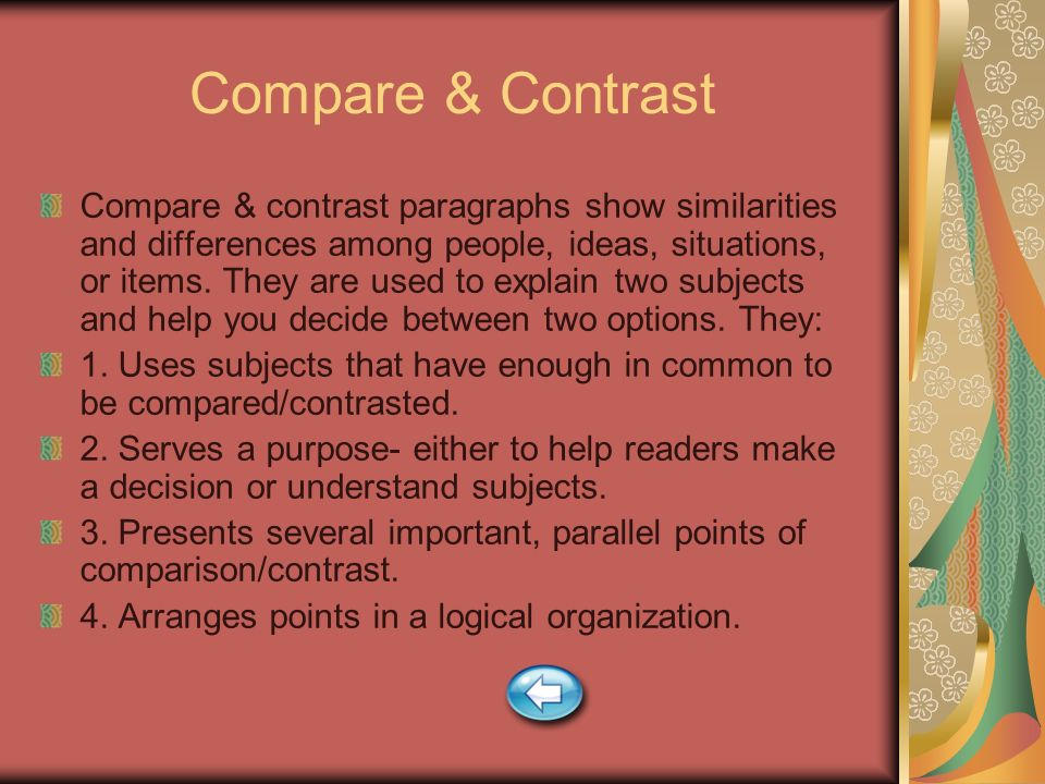 Two types organization used compare contrast essay