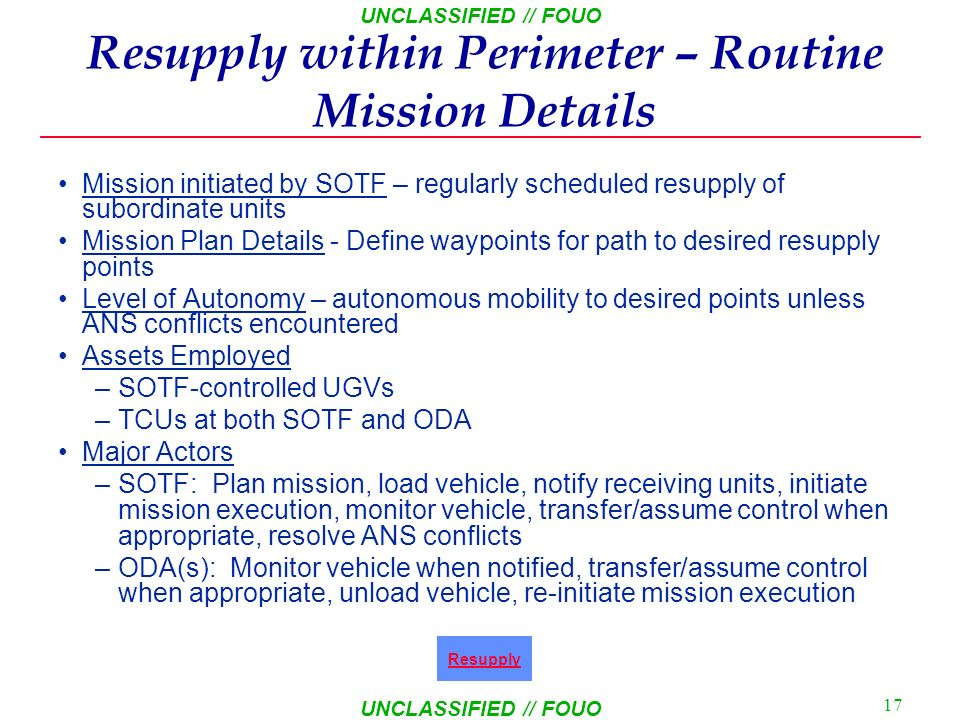 Resupply within Perimeter – Routine Mission Details
