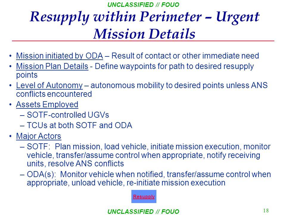 Resupply within Perimeter – Urgent Mission Details