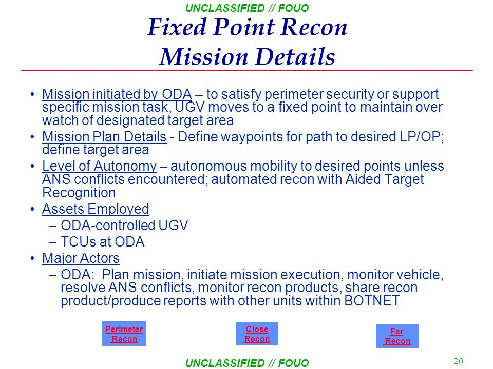 Fixed Point Recon Mission Details
