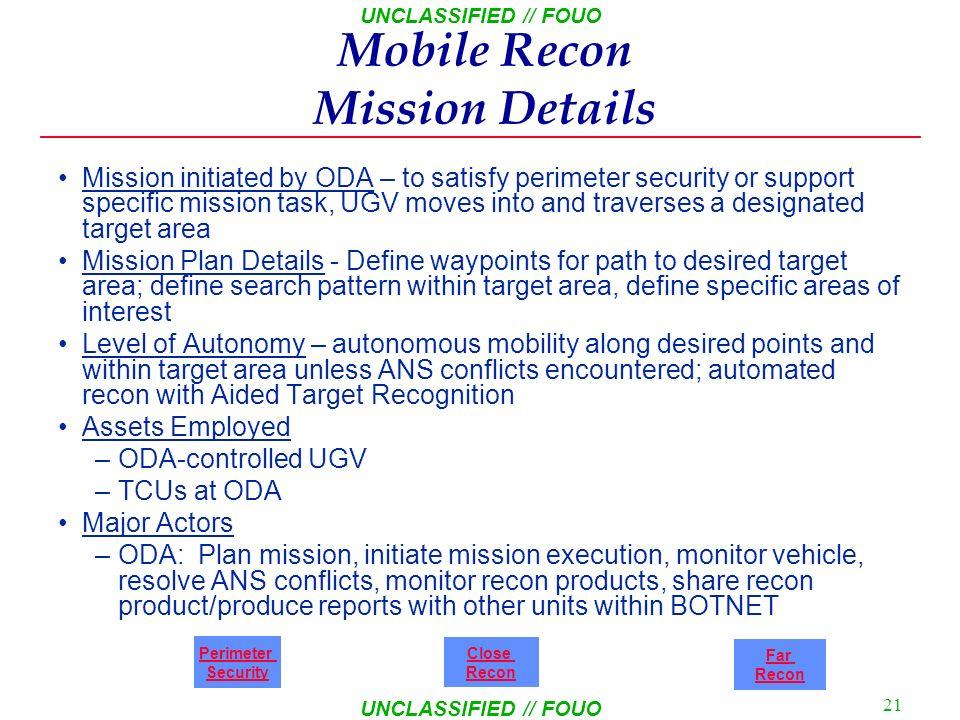 Mobile Recon Mission Details