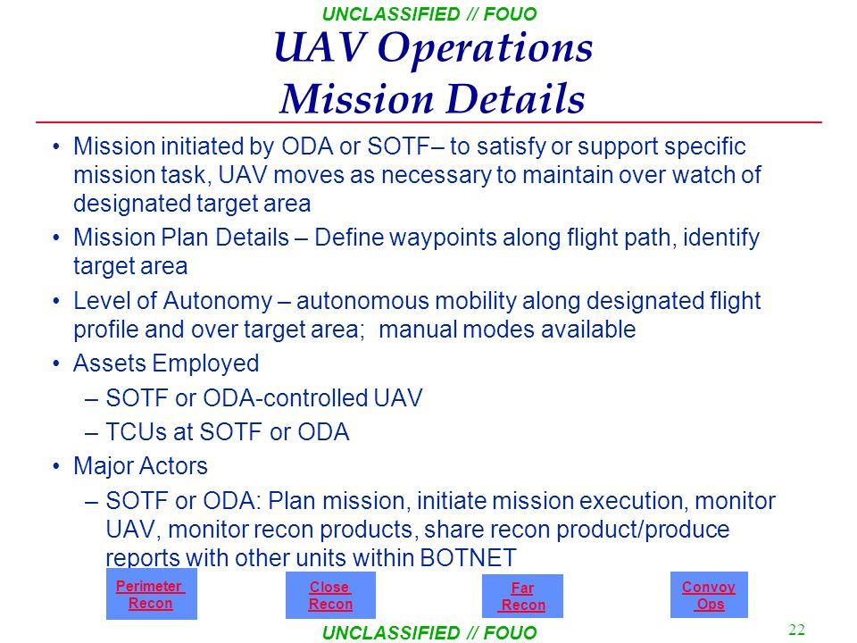 UAV Operations Mission Details