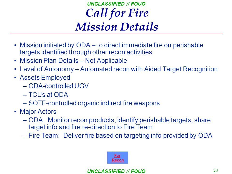 Call for Fire Mission Details