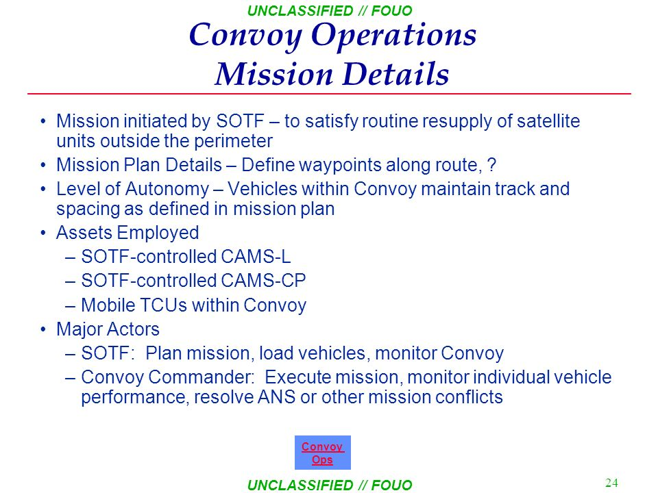 Convoy Operations Mission Details