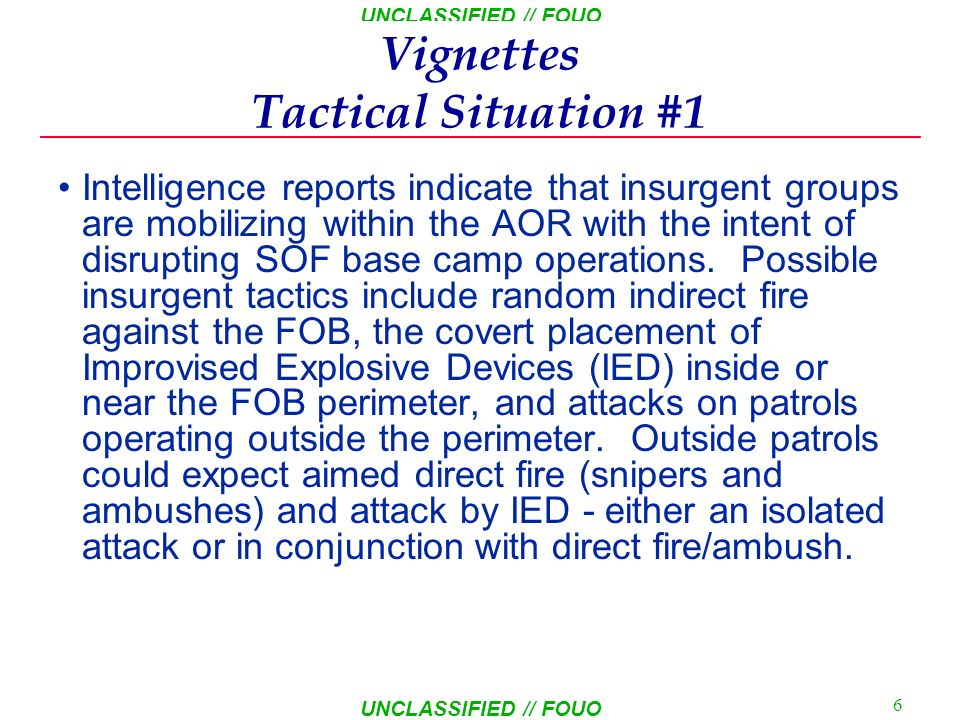 Vignettes Tactical Situation #1