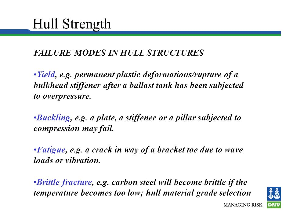Hull Strength FAILURE MODES IN HULL STRUCTURES