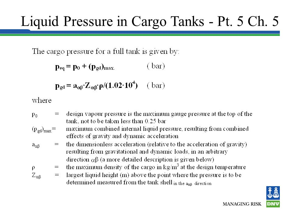 Liquid Pressure in Cargo Tanks - Pt. 5 Ch. 5