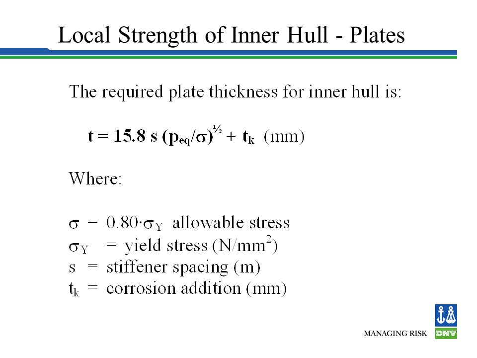 Local Strength of Inner Hull - Plates